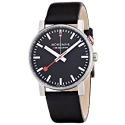 Mondaine SBB Classy Wrist Watch for Men (A468.30352.14SBB) Swiss Made, Alarm Function, Black Leather Strap and Silver Stainless Steel Case