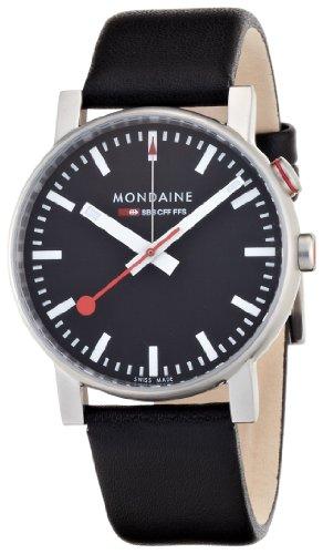Mondaine Men's A468.30352.14SBB Analog Display Swiss Quartz Black Watch
