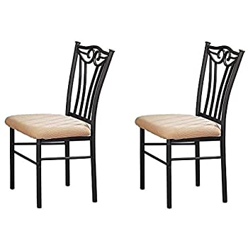Poundex Shannon Series Dining Chair in Charcoal Iron Finish European Style, Set of 2