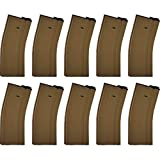 Elite Force M4 and M16 6mm BB Airsoft Gun Magazine, Tan (140 Rounds), Pack of 10