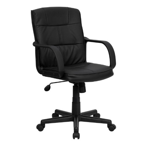 Flash Furniture Mid-Back Black Leather Swivel Task Office Chair with Arms