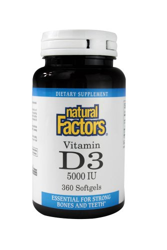 Natural Factors, Vitamin D3 5000 IU, Supports Strong Bones, Teeth, and Muscle and Immune Function with Flaxseed Oil, 360 softgels (360 Servings)