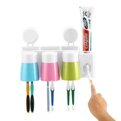 Toothpaste Dispenser Toothbrush Holder Anti-dust with 3 Cups Wall Mounted Bathroom Toothbrush Storage Saves Space