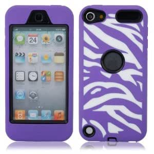 Zebra Pattern Silicone Case for iPod touch 5 Black Background Purple