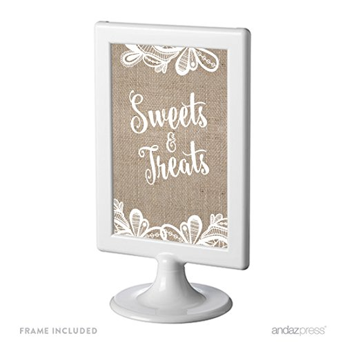 Andaz Press Burlap Lace Print Wedding Collection, Framed Party Signs, Sweets & Treats Dessert Table Sign, 4x6-inch, 1-Pack, Includes Frame