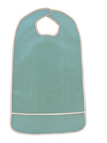 Waterproof Terry Cloth Adult Bib w/Closure and Crumb Catcher (Light Blue - 16
