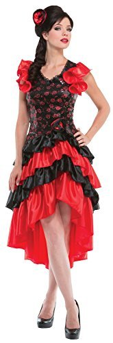 Ladies Sexy Red Spanish Flamenco Dancer Around The World Fancy Dress Costume Outfit UK 10-12-14]()