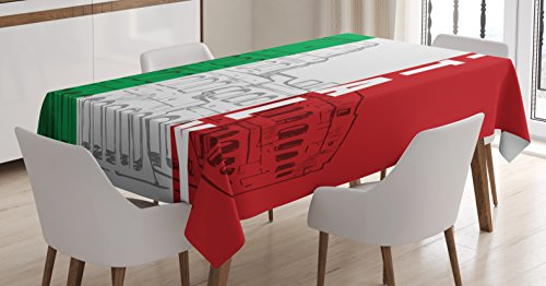 Lunarable Italian Flag Tablecloth, Roma Landmark Colosseum Heritage Cityscape Ancient Civilization Image, Dining Room Kitchen Rectangular Table Cover, 60 W X 90 L inches, Green Grey Ruby ()