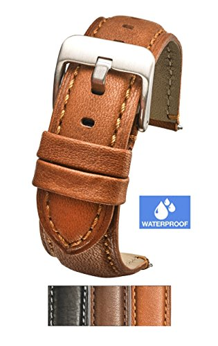 18mm Genuine Leather Strap - Padded soft genuine waterproof leather watch band - 18mm - tan