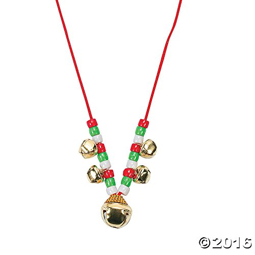 48 pc - Christmas Jingle Bell Necklace Craft Kits - Bulk Class (Jingle Bell Necklace Craft)