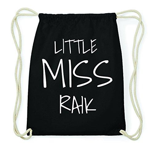 JOllify RAIK Hipster Turnbeutel Tasche Rucksack aus Baumwolle - Farbe: schwarz Design: Little Miss