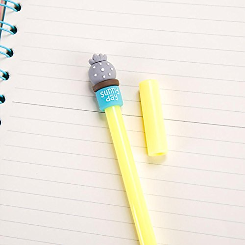 SUPPION 4PC Cartoon Cactus Gel Black Pens Kawaii Pens Cute Office Stationery Student Gift Photo #4