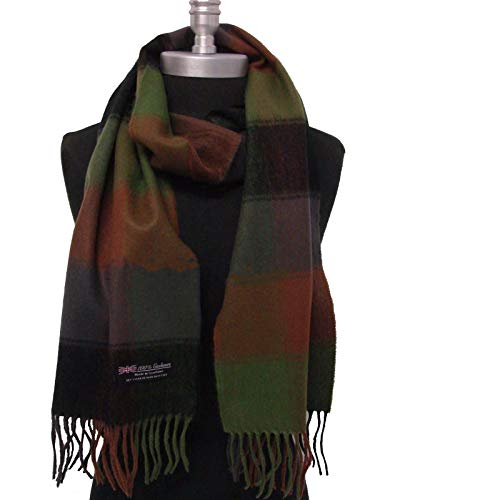 100% Cachmere Scarf For Men Women Check Plaid Black - Gray - Green - Brown Made in Scotland Soft Wool Wrap Shawl