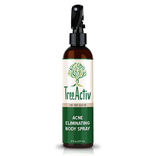 TreeActiv Acne Eliminating Body Spray | Natural Body, Back, Butt, Chest and Shoulder Acne Treatment | Salicylic Acid | Tea Tree | Aloe | Witch Hazel | Menthol | Mint | Men, Women, Teens | 8 fl oz