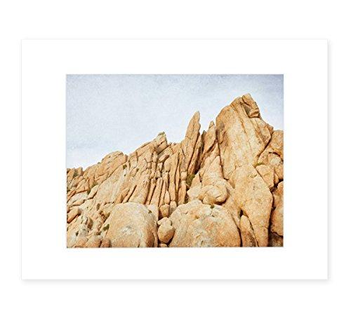 Joshua Tree Wall Art, California Desert Decor, Palm Springs Landscape Art, 8x10 Matted Photography Print, 'Joshua Rocks' - Sandstone Framed