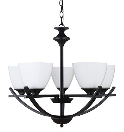 e Chandelier, Black Finish, Transitional Style, Opal Blown Glass, 5 Light, Hanging Pendant Lighting Fixture for Dining Rooms, Living Rooms, Kitchen Island, Entryway AL12077-H5 ()