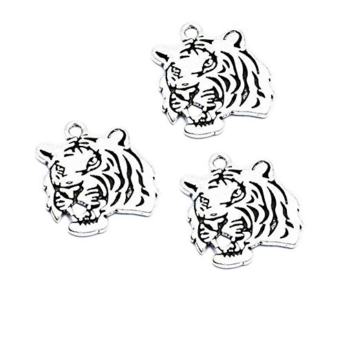 30pcs Vintage Antique Silver Alloy Animal Tiger Head Charms Pendant Jewelry Findings for Jewelry Making Necklace Bracelet DIY 27x24mm (30pcs Tiger) ()