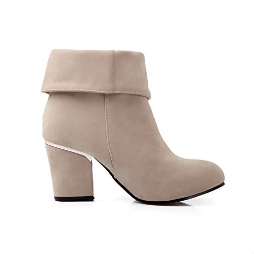 top Boots Low Heels Women's Round Frosted Solid Closed Beige High AmoonyFashion Toe dOvx088wq