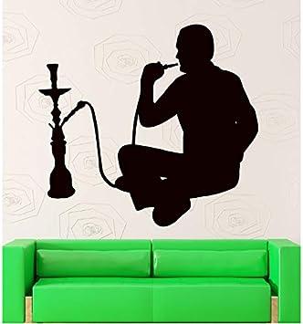 shensc Pegatinas de Pared Cachimba Fumar café árabe decoración Shisha calcomanía de Vinilo calcomanías de la Ventana del salón Etiqueta engomada del hogar decoración del hogar 46x42 cm