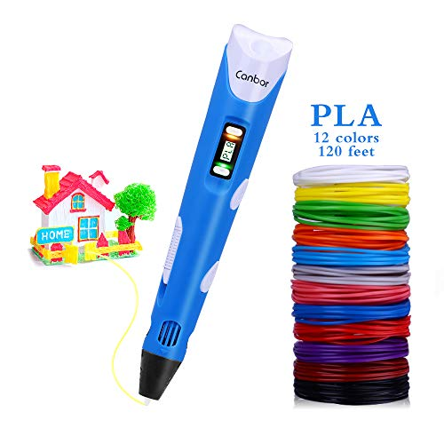 Canbor 3D Pen with PLA Filament Refills, 3D Printing Drawing Printer Pen for Kids and Adults, Compatible with PLA ABS Filament, 12 Colors 120 Feet PLA Filaments Included, Blue (Best 3d Printed Objects 2019)