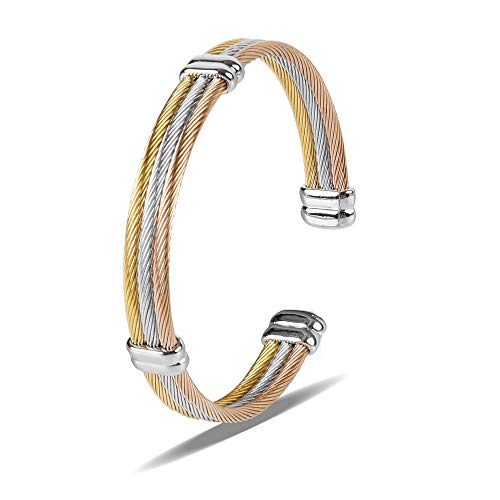Zean Bracelet Designer Brand 14K Gold Plated Bangle for Womens Inspired Antique Jewelry (Polish High Cuff Silver)