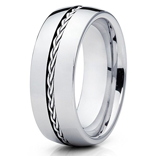 - Silly Kings 8mm Silver Braided Braid Tungsten Carbide Wedding Band Mens Comfort Fit Ring
