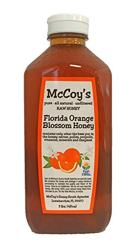Raw Honey - Pure All Natural Unfiltered & Unpasteurized - McCoy's Honey Florida Orange Blossom Honey 3lb (Raw Honey Orange Blossom)