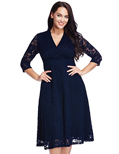 LookbookStore Women's Plus Size Navy Lace Mother of the Bride Bridal Formal Empire Dress 22W