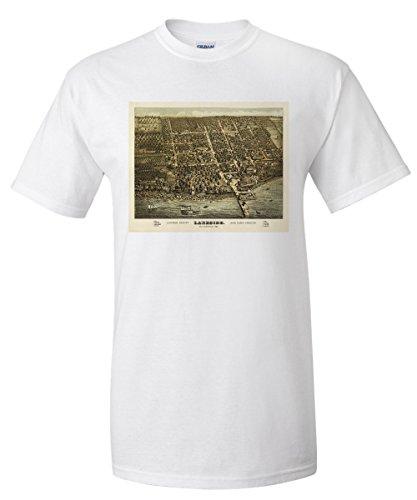 Lakeside, Ohio - Panoramic Map (White T-Shirt - Lakeside Shops Map