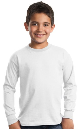 Boys Long Sleeve Crewneck T-shirt (Port & Company Boys' Long Sleeve Essential T Shirt S White)