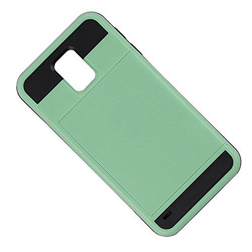 Telefon-Kasten - TOOGOO(R)Karte Tasche Stossfeste Duenne Hybrid Mappe Abdeckung fuer Samsung Galaxy S5 MintGruen