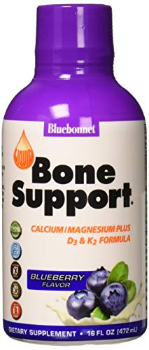 (Bluebonnet Nutrition Liquid Bone Support Calcium Citrate, Magnesium Citrate, Vitamin D3, K2, For Bone Health, Non GMO, Gluten Free, Soy Free, Milk Free, Kosher, 16 fl oz, 32 Servings, Blueberry)