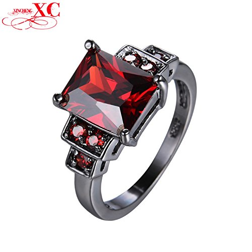 Myn Jewelry Ruby Jewelry Halloween Ring Wedding Jewelry Vintage Black Gold Filled Red Zircon Engagement Ring RB651