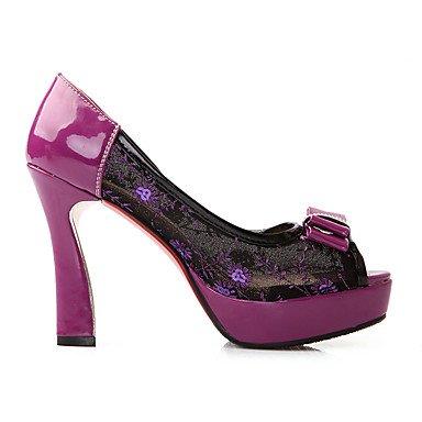 LvYuan Mujer-Tacón Stiletto-Confort Zapatos bordados Zapatos del club-Sandalias-Boda Informal Fiesta y Noche-Tul PU-Negro Morado Black