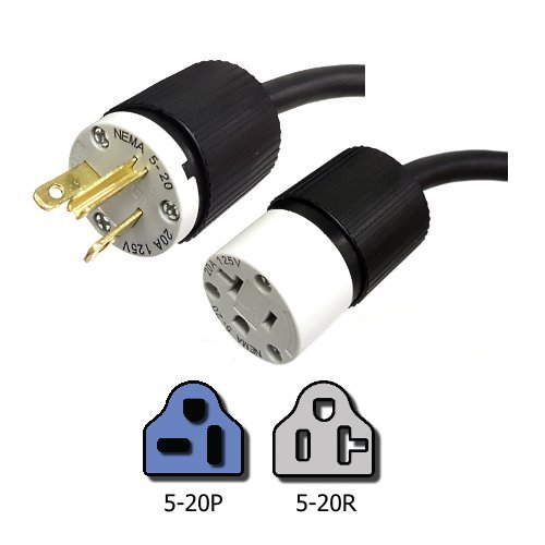 10 Foot 5-20P to 5-20R Extension Power Cord, 20 Amps, 125V