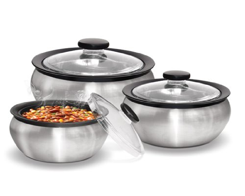 Milton 600/1500/2000ml 3-Piece Thermo Hot-Pot Insulated Casserole Gift Set, Medium, Steel by Milton