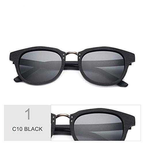 Sol TIANLIANG04 Amarillo Retro Gafas Gafas De De De Polarizadas Similar Unisex Madera De Sol C10 C86 Acetato BLACK ZZrq8w0x