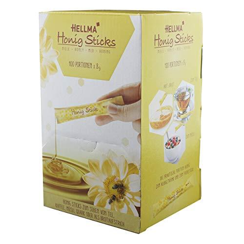 Hellma Honey Sticks, Blossom Honey, Ideal for Tea, Coffee and Cereals, 100 Pieces