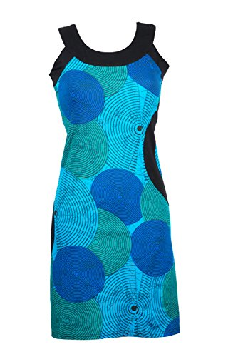Ausgefallenes Sommerkleid/Urlaubskleid mit bunten Ethno Muster – Hippie Chic – 100% Baumwolle - YING (Blau)
