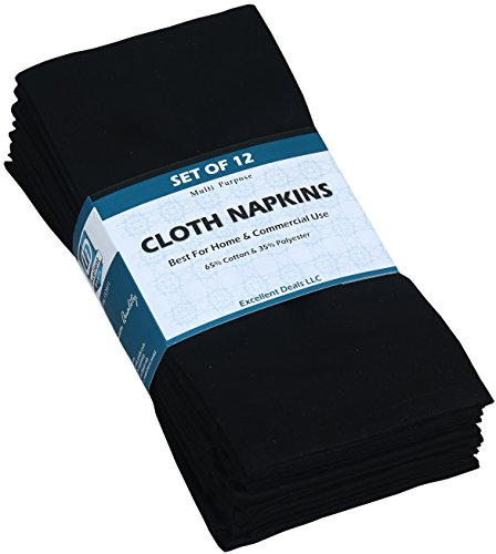 Cloth Napkins (Black, 12 Pack) -18x18 inches Poly-Cotton Dinner Napkins Ideal for Home & Commercial Use - Durable Restaurants Napkins - Easy Clean Machine Washable Banquets Napkins by Excellent Deals.