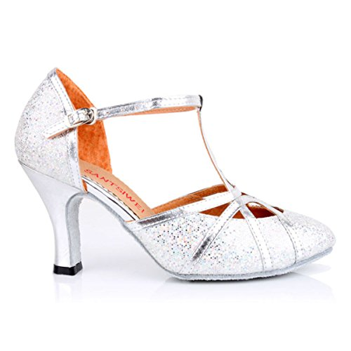 Dance gold Superiore Scarpe Della Ballroom Donne Med Latino Satin Delle Salsa Sandali Ragazza Professionista Colori Shoe 37 altri aaFCfqP