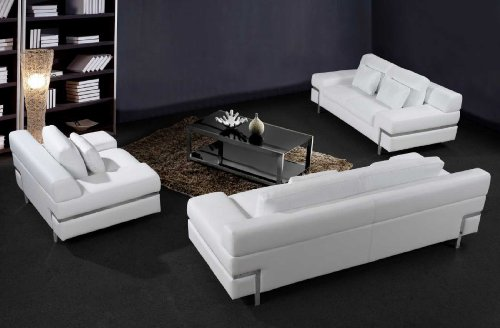 Merveilleux Modern Furniture  VIG  0725   Modern White Leather Sofa Set
