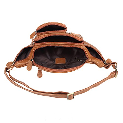 Polare Men's Natural Leather Fanny Pack Waist Bag Brown Large by Polare (Image #5)