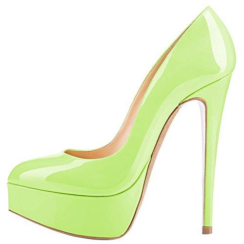 Aooar Dames Tweekleurige Hoge Platform Spike Stiletto Pumps Lichtgroen Patent