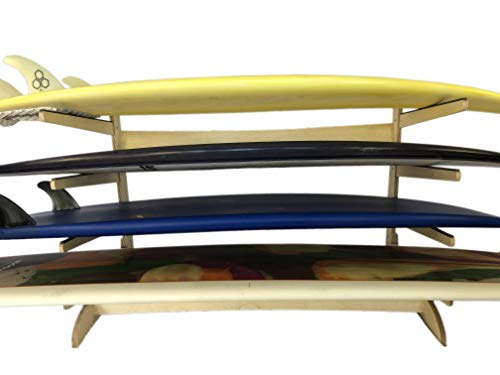 Steves Rack Shack 4 Space Horizontal Surfboard Freestanding Storage | 4 Spaces, Storage fror: shortboard, Fish, Fun Boards (Freestanding; for use Indoors and Outdoors; Made in The USA)