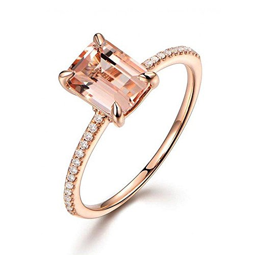 Limited Time Sale: 1.25 Carat Peach Pink Morganite (emerald cut Morganite) and Diamond Engagement Ring in 10k Rose - Ring Diamond Rose Emerald Cut