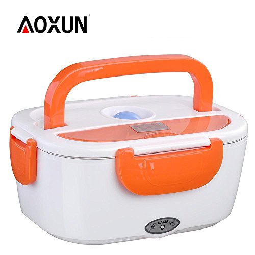 Aoxun Meal Heater Food Warmer 110V-22V 1.5LPortable Electric Heating Lunch Box with Car Charging Function Removable PP Container (Orange)