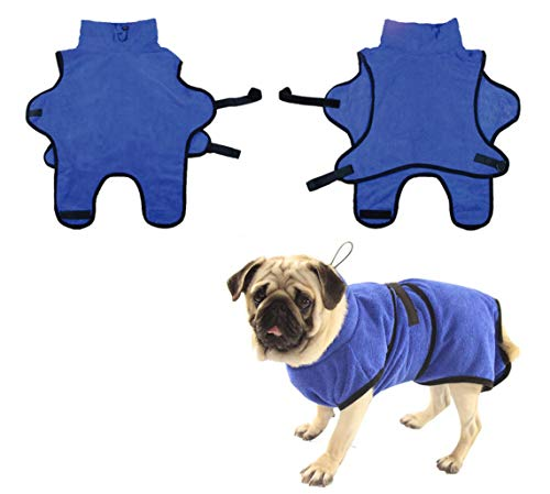 LEMON PET Dog Bathrobe Towel Adjustable Soft Fast Drying Super Absorbent with Waist Belt Easy Wear Robe for Puppy Cats Small Medium Large Dogs (XL, Blue)