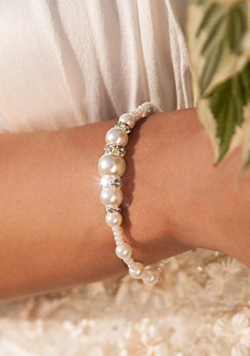 Beaded pearl bracelet in ivory, Beach wedding bracelet, Bridal jewelry, Bridesmaid gift, Wedding jewelry for bride