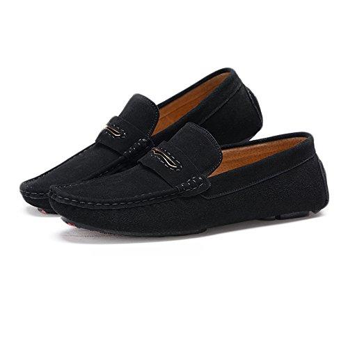 da in con da pelle uomo EU Xiaojuan Nero pelle 40 shoes mocassino in Color di Nero guida Mocassini bottoni vera scamosciata Dimensione wqq6Ev8